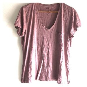 MADEWELL XL Cotton Dusty Rose V Neck Pocket Tee